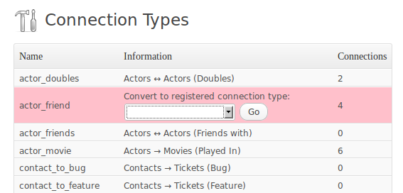 Connection Types screen